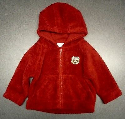 Baby Boys Early Days Red Fleece Jacket Hood Zip Front 6-9 Months