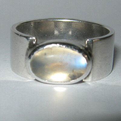 Sterling Silver And Chalcedony Modernist Ring Birmingham 1972 Maker Signed