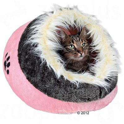Cosy Cat Cave Den Bed Cuddly Pink Grey Hideaway Napper Kitten Reversible Cushion