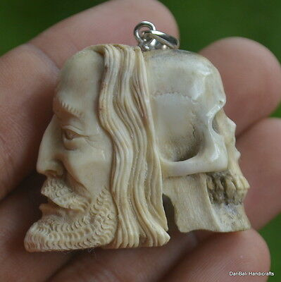 Skull Half Face Beads Pendant 34mm in Height P1163 w/ Silver in Antler