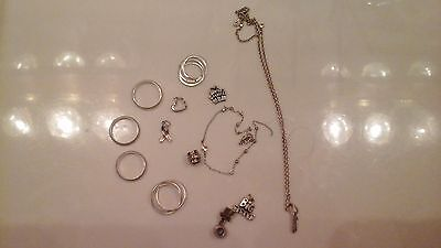 Nice Lot Of Modern 925 Sterling Silver Jewelry Scrap Or Not Rings Charms Pandora