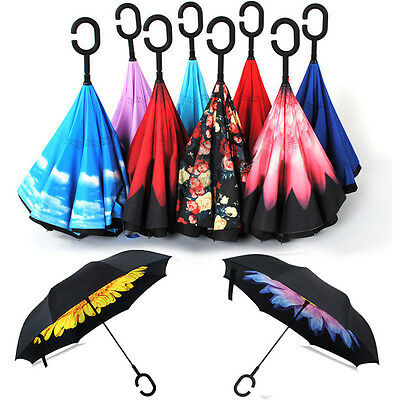C-Handle Double Layer Umbrella Windproof Folding Inverted Upside Down Reverse AC