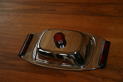 Vintage Glo-Hill Bakelite Gourmates Chrome Serving Dish With Glass Red Bakelite
