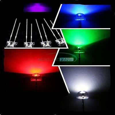 Blue/Green/Red/White/Purple/Yellow Color 5mm Straw Hat LED Wide Angle Light Lamp