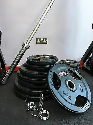 Tri-Grip Olympic Weight Plates Rubber Enc (125kg) With 7ft Olympic Barbell 20kg