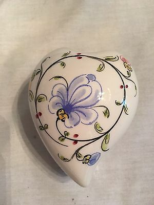 Anfora Agueva Hand Painted Round Trinket Box Portugal Heart with Flowers