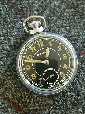 Vintage Ingersoll black faced pocket watch, very good condition and FWO