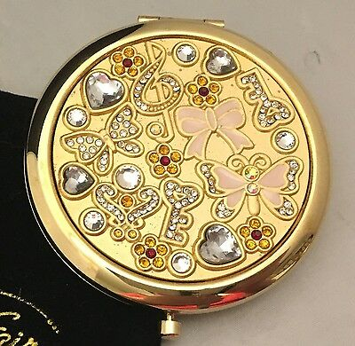 STUNNING Vanity Fair Gold Jewelled & Enamel Makeup Mirror Compact w/Pouch -L431