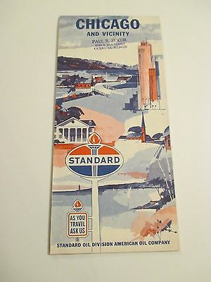 VINTAGE STANDARD OIL CHICAGO & VICINITY ILL CITY Gas Service Station Road Map