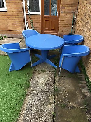 Garden Table And Chairs Blue