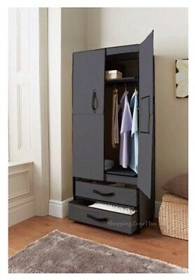 2 Door Deluxe Canvas Wardrobe With Opening Doors Drawer Black High Quality New