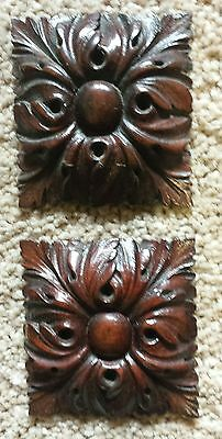 pair of mahogany carved mounts