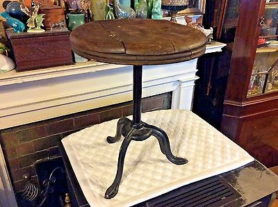 """Antique Industrial Stool Cast Iron Stand Wooden Stationary Seat 17"""" x 14"""""""