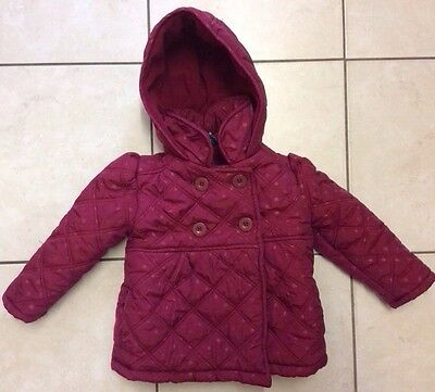 Girls Smart Red Padded Anorak Double Breasted Button Coat Age 2-3 Years Hood