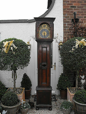 Old Antique Oak Cased Longcase Brass Face Grandfather Clock Very Tall 7'11'