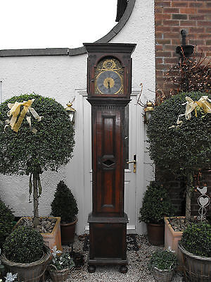 Old Antique Oak Slim Cased Longcase Brass Face Grandfather Clock Very Tall 7'11'