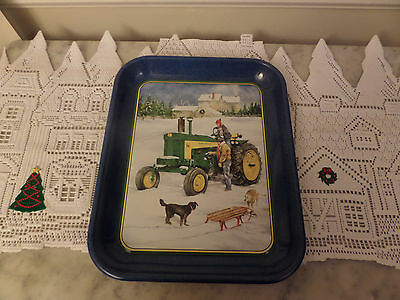 "John Deere Holiday serving tray ""Sleigh Ride With Daddy"" 1999 RL Crouse"
