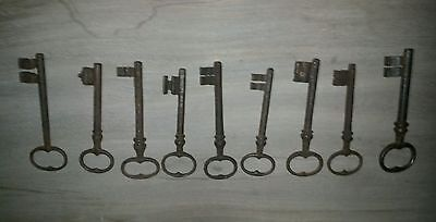 old antique French  key 1800's...wrought iron castle & church