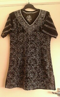 Ladies black chiffon kurta dress top thread embroidered size M/L