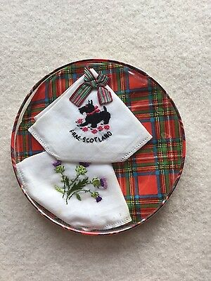 Vintage boxed pair of hankerchief Scottish thistle, Scotty dog hankies