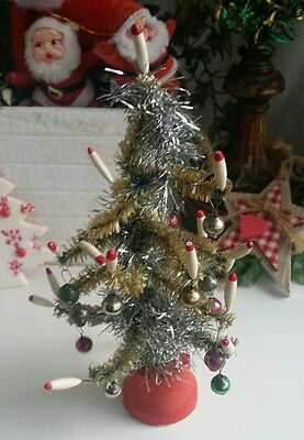 Vintage JAPAN  Small Bottle Brush Tiny Christmas Tree  Candles Baubles ornaments