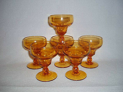 6 AMBER Duncan & Miller GEORGIAN Footed Ice Cream or Saucer Champagne Goblets
