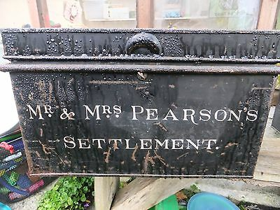 Vintage Deed Box exquisite writing Mr & Mrs Pearson's Settlement storage Norwich