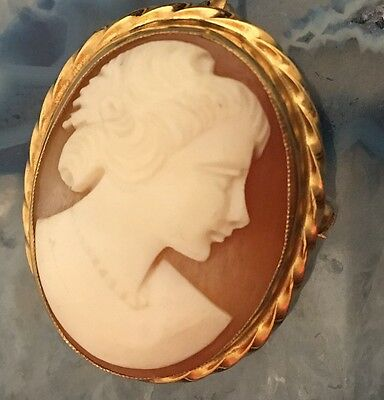 MAGNIFICENT Genuine Hand Carved Shell Cameo 14k Gold Pendant or Brooch -L436