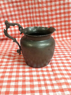 Antique Primative Small Pewter Jug Engraved With Leaves