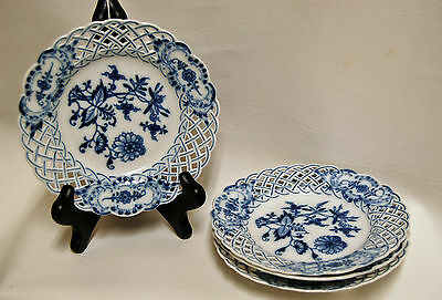 """Lot of 4 MEISSEN Blue Onion Crossed Swords Reticulated Bread Plates 6"""""""