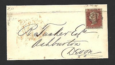 1854 1d Red Star Blued Paper Cover To Devon