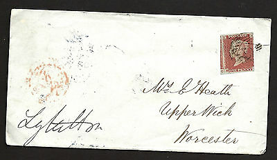 1849 1d Red Imperf Cover To Worcester