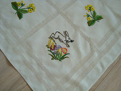 Vintage Easter Hand - Embroidered Tablecloth table runner – Bunny Eggs