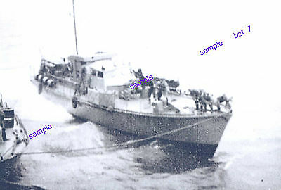 """Warship"" Motor Launch H.D.M.L at Sea Mooring to Another During WW II Rough Sea"