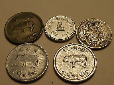 #3377 Nepal; 5 coin lot