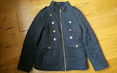girls Next navy blue quilted military style jacket coat 7 8 years fleece lined