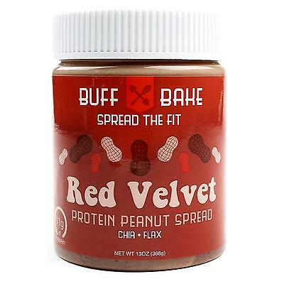 NEW Buff Bake 11g Protein Peanut Butter Red Velvet Spread Natural Chia Flax