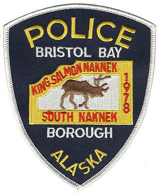 Bristol Bay Police Alaska Shoulder Patch - 5 inches tall by 4 1/8 inches wide