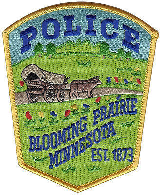 """Blooming Prairie Police Minnesota Shoulder Patch - 4 7/8"""" tall by 4"""" wide - NEW"""