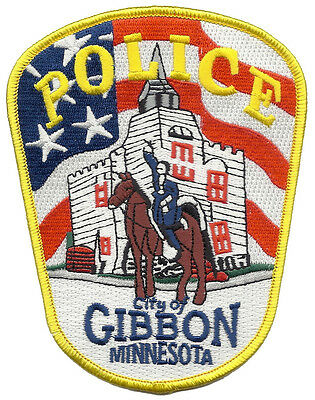 """City of Gibbon Police Minnesota Shoulder Patch - 5 1/8"""" tall by 4"""" wide - NEW"""
