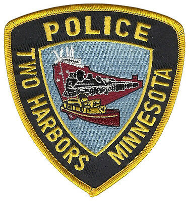 """Two Harbors Police Minnesota Shoulder Patch  4 3/8"""" tall by 4 1/8"""" wide - NEW"""
