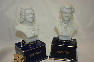 Vintage Schmid Music Box Figurines, Bach, Mozart Busts w Tag - Lot of 2, Japan