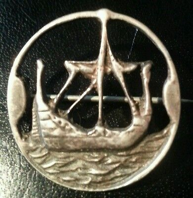 Beautiful Antique Solid Silver Ship Brooch Hallmarked FreeUKPostage
