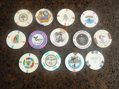 Lot of 13 different $1 US casino chips, mostly obsolete