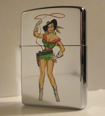 1990 Full Size Zippo Cowgirl Pinup Art