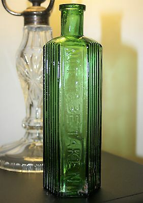 Antique Green Hexagonal 'Not To Be Taken' Glass Poison Bottle 7 inches high