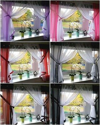 Beautiful White & Coloured Voile Net Curtain Ready To Hang