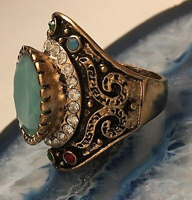 LARGE Vintage Napoleonic Style Jewelled Gold Tone Cluster Ring Size 8 WOW! -L447