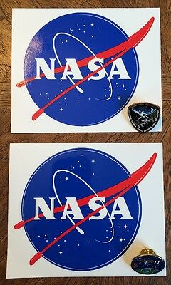 Original Two NASA Meatball Logo Decals And Pins Set, US Space Program '03 & '05