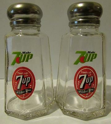 Charming Set Of 2 Seven Up Salt and Pepper Shakers